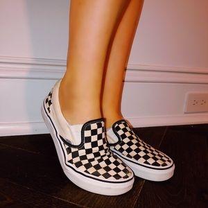 white and black checkered vans!